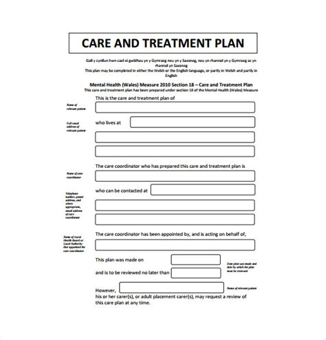 treatment plan template 12 treatment plan templates free sle exle