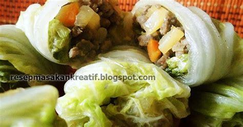resep sawi putih gulung enak isi daging resep aneka