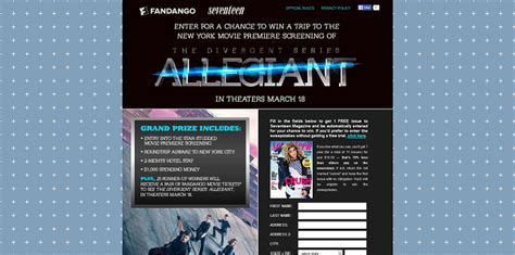 Seventeen Magazine Sweepstakes - seventeen com allegiant seventeen magazine s the divergent series allegiant