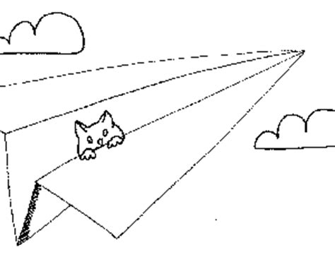 coloring pages of paper airplanes paper airplane with cat coloring page