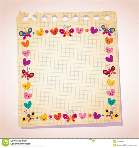 cute butterflies and hearts frame note paper cartoon