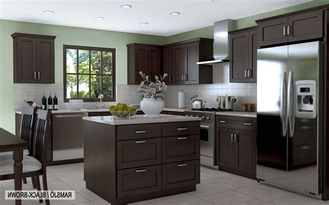 black and brown kitchen cabinets grey color mosaic pattern backsplash island granite