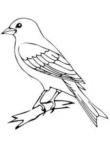 Perched Canary Bird Coloring Page Supercoloring Com Mockingbird Coloring Page