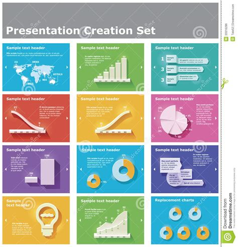 presentation chart templates vector presentation elements stock vector image 33316286