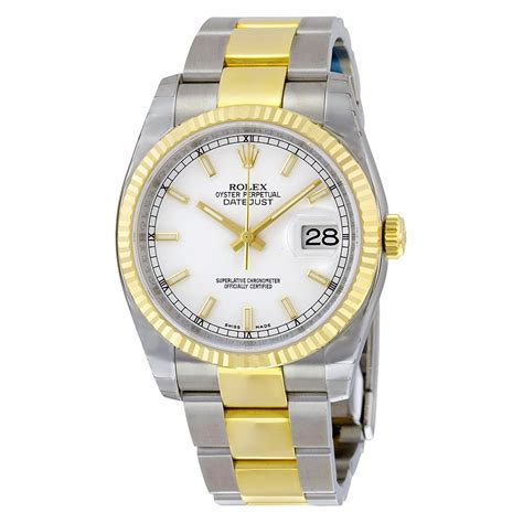 rolex datejust white automatic stainless steel and