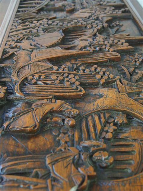 vintage carved asian camphor wood chest  sale