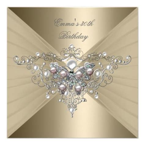 Birthday Party 30th Gold Coffee Pink Pearl Invitation