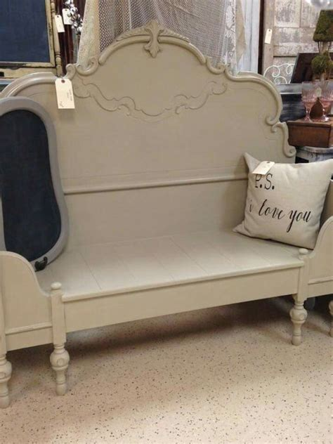 make a bench out of a headboard and footboard bench out of headboard chalked pinterest benches and