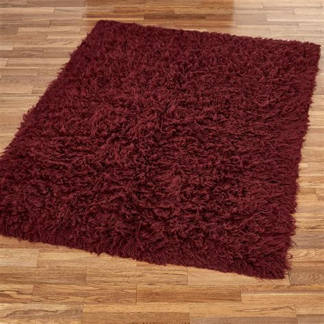 Burgundy Flokati Wool Shag Area Rugs Throw Rugs