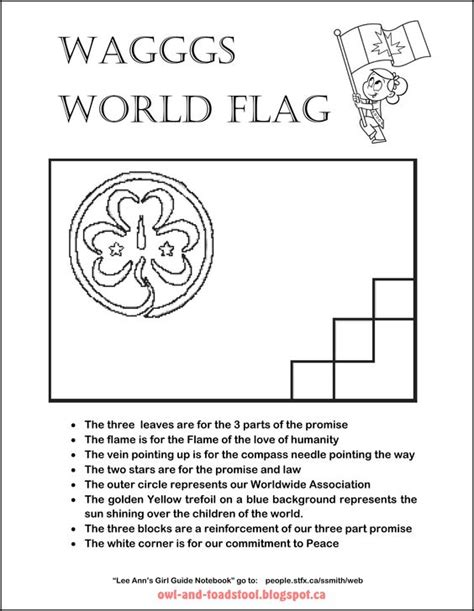 Guide Trefoil Outline by Guides Of Canada Wagggs World Flag Colouring Page Guides Ggc Guides