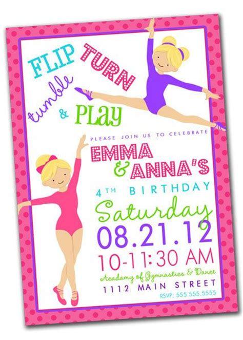 printable gymnastics invitation printable gymnastics tumbling birthday party invitation