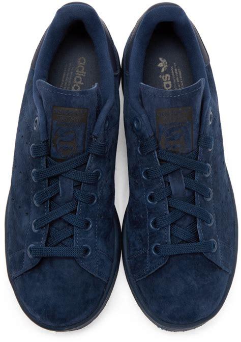 Sepatu Sneakers Adidas Originals Stan Smith Blue adidas originals stan smith suede sneakers blue in blue for lyst