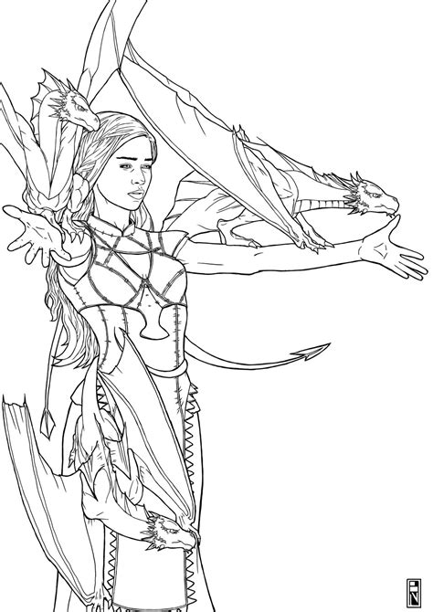thrones coloring book exles daenerys of dragons targaryen by brooparker