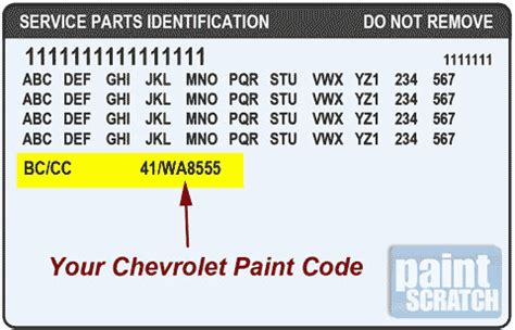 chevy paint codes are located on the service parts identification
