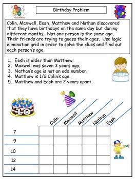 printable logic puzzles for 2nd graders freebie sle easy logic grid puzzle by teresa king tpt