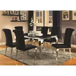 Upholstered Dining Room Sets by Coaster Carone Contemporary Glam Dining Room Set With