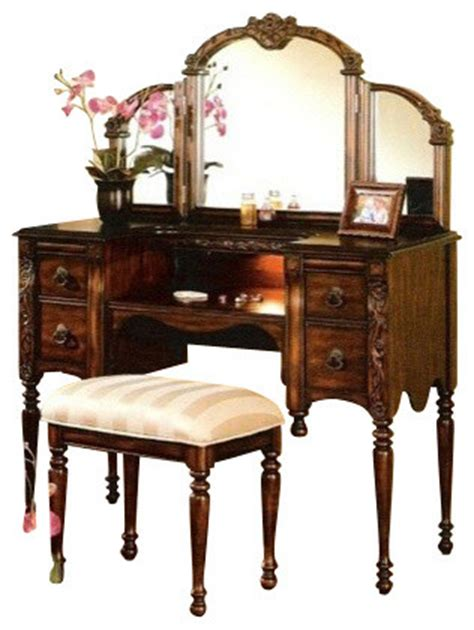 Cherry Makeup Vanity by Cherry Brown Finish Wood Make Up Bedroom Vanity Set