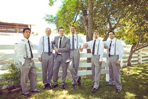 Garden Wedding Groomsmen Attire Grey And Suspenders