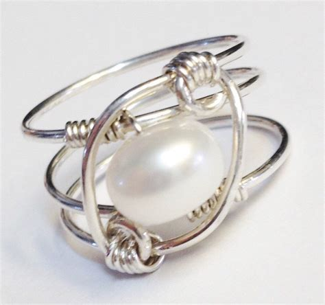 white pearl ring pearl jewelry pearl ring sterling silver