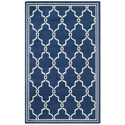 Home Depot Indoor Outdoor Rug by Safavieh Amherst Navy Beige 4 Ft X 6 Ft Indoor Outdoor
