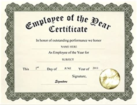 employee of the year certificate template awards certificates free templates clip wording