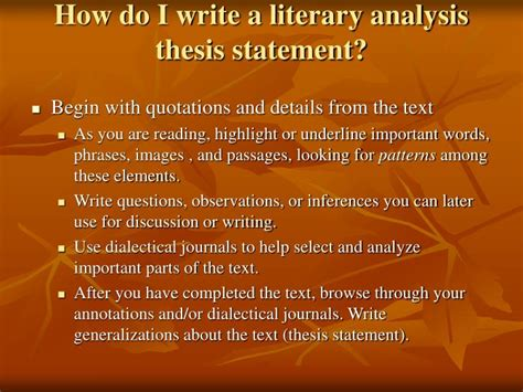 how do i make a thesis statement ppt literary analysis middle school powerpoint