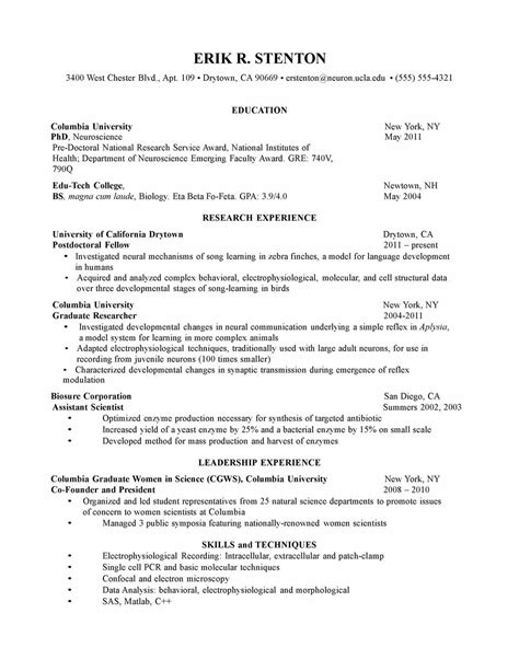 biology resume template biology graduate resume resume ideas