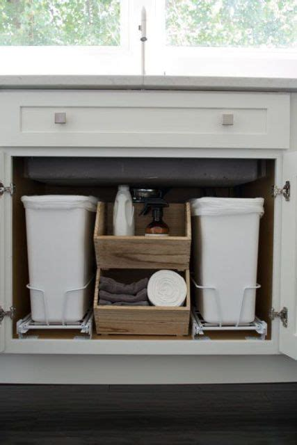 under sink storage kitchen cabinet ideas pinterest 29 sneaky ways to hide a trash can in your kitchen digsdigs