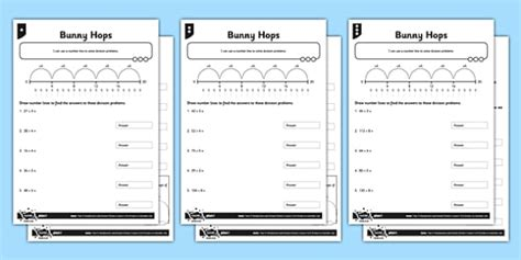 year 3 differentiated division on a number line worksheet