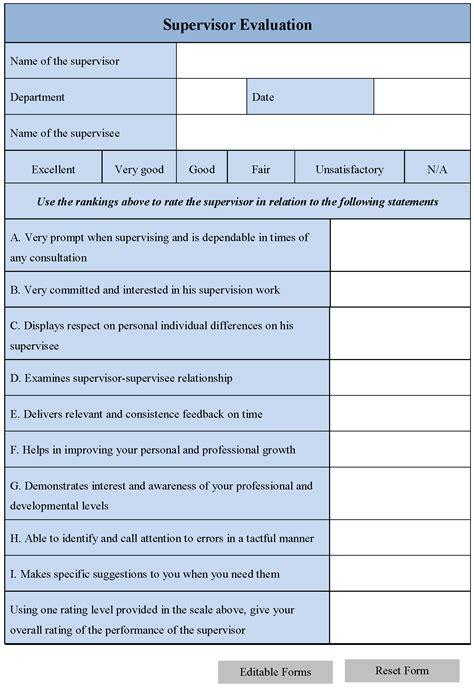 supervisor evaluation form editable forms