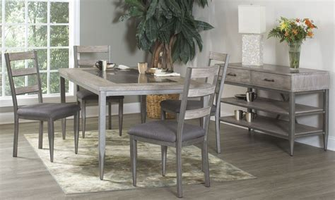 metal dining room set river loft rustic oak and metal rectangular dining room