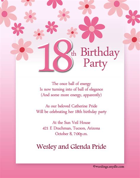 invitation wordings for year birthday 18th birthday invitation wording wordings and messages