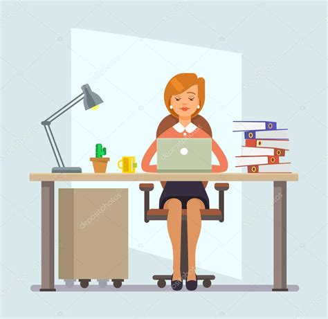 imagenes animadas oficina woman office worker vector flat cartoon illustration