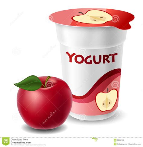 apple yogurt apple yogurt cup with red apple stock photo image of