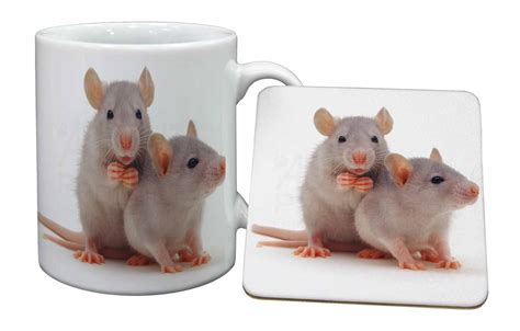 silver blue rats mug coaster christmas birthday gift idea
