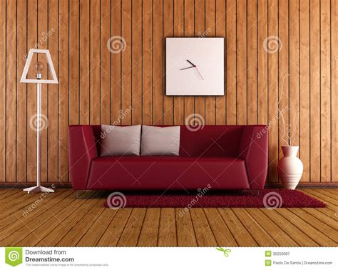 wooden living room  red couch stock illustration
