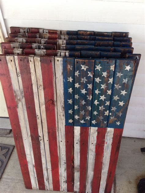 primitive rustic americana wooden pallet flags