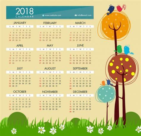 2018 Calendar Template Illustrator 2018 Calendar Template Style Free