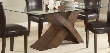 furniture glass top dining table with wooden base