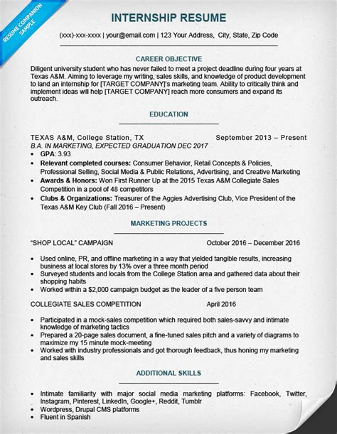 Resume Exles College Students Internships This Resume Template