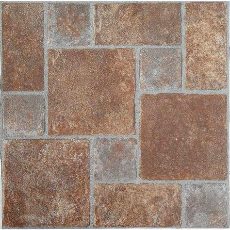 pattern vinyl tile achim tivoli rust 12 in x 12 in peel and stick pavers