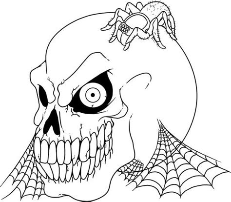 cute skull coloring page scary halloween skull and spider coloring page cute