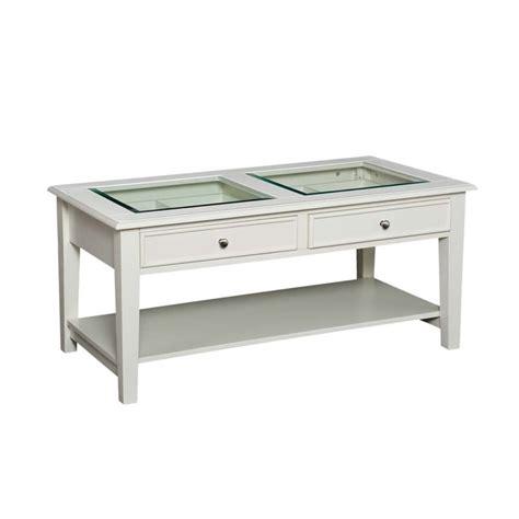 Southern Enterprises Panorama Glass Top Coffee Table In White Coffee Table Glass Top