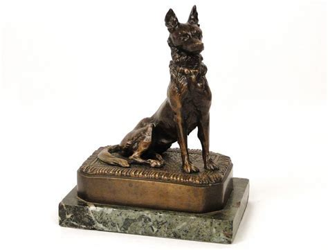 sculpture in bronze and marble wolf dog malinois signed