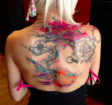 tree amp compass 45 incredible watercolor tattoos