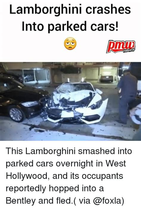 smashed lamborghini lamborghini crashes into parked cars hiphop this