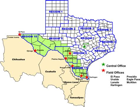 map texas mexico border office of border health map of dshs border area