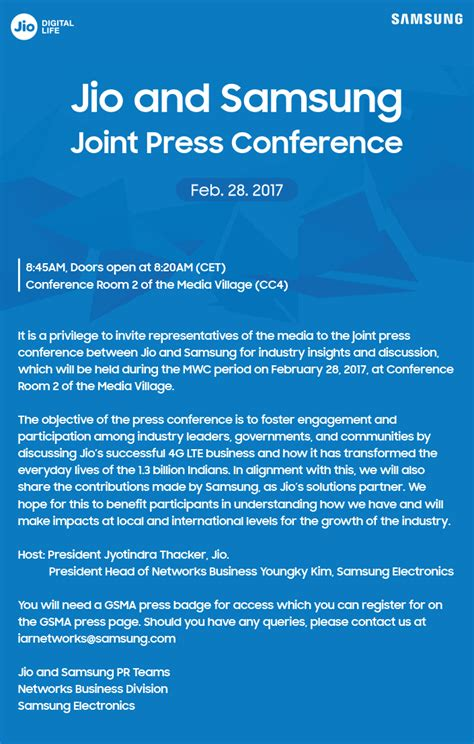 Press Conference Invitation Letter To Media Invitation Jio And Samsung Joint Press Conference At Mwc 2017 Samsung Global Newsroom