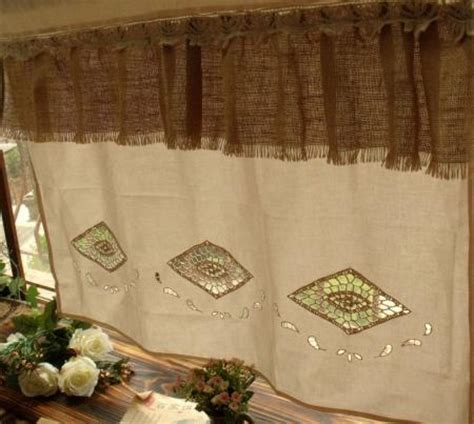 shabby chic cafe curtains shabby french chic rustic burlap window cafe curtain hand
