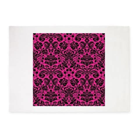 Black And Pink Area Rug by Pink And Black Damask 5 X7 Area Rug By Admin Cp49789583